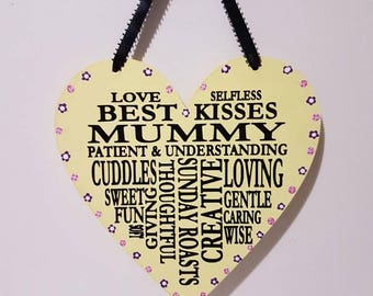 Mummy Word Art Mothers Day Gifts Mothers Day Ideas Mothers day Presents Wooden Heart Gifts for Mum Mothers day UK Special Gifts for Mum