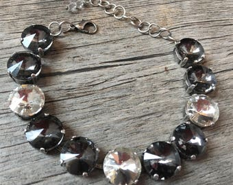 Transparent Gray & Crystal Swarovski Bracelet