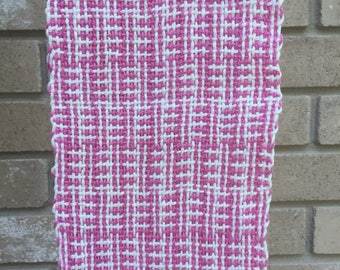Hand woven pink and white scarf