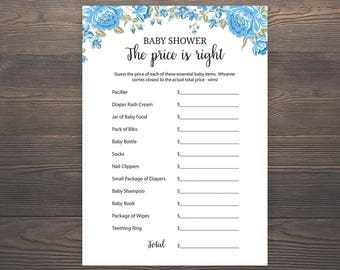 Price is right, Baby Shower Games, Guess the Price, Printable Baby Shower Games, Baby Boy Shower, Blue Baby Shower, Price Game Cards, S001