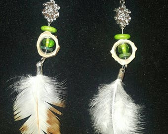 Antler and feather drop earrings