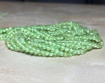 2mm Tiny Genuine Faceted Peridot Gemstone Round 2mm Loose Beads 15.5 inch Full Strand, Peridot Beads, Natural Peridot Beads
