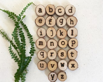 Lowercase Alphabet tree slices / Kindergarten letters / Reggio / loose parts / Montessori / tree cookies / nature in the classroom / Waldorf