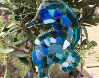 Fused glass seahorse  sun catcher