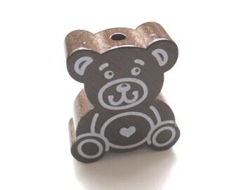 Large Teddy bear chocolate wood bead