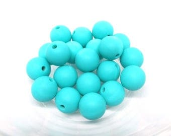 10 12mm - Turquoise Silicone beads