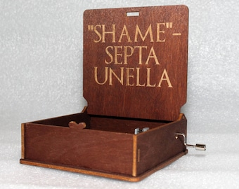 "Shame Septa Unella - Engraved Wooden Music Box - ""Game Of Thrones"" - Night's Watch - Hand Crank Movement"