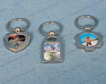 Personalised Photo Keyrings - Cylch Allwedd gyda Llun - Photo Keyring - Metal Keyring - Photo Gift - Personalised Gift