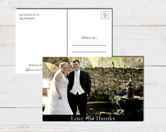 Modern Love and Thanks Thank You Card / Wedding Thank You Card / Picture Thank You Card