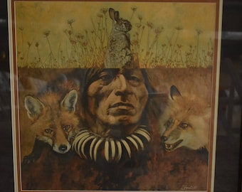 "SALE: Framed Rob Faner Print of ""Cunning as the Fox, Sudden as the Rabbit"""