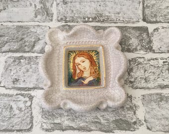 Gmundner Keramic Virgin Mary Hand Painted On Pottery Ceramic Frame and Image.