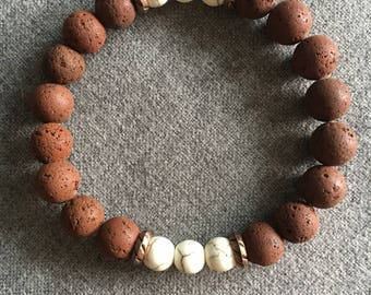 Brown Lava and Magnesite Beaded Bracelet