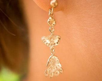 ON SALE Matoaka inspired rose gold plated silver dangle earrings