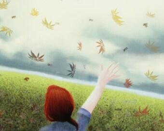 Custom Cloudy Fall Landscape Digital Art Print 11x8.5in