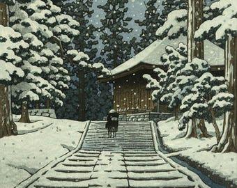 "Japanese Art Print ""Konjikido in Snow, Hiraizumi"" by Kawase Hasui, woodblock print reproduction, asian art, falling snow, night, winter"