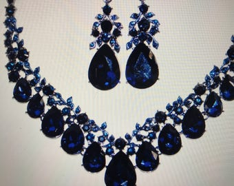 Navy Blue Crystal Necklace and Earrings