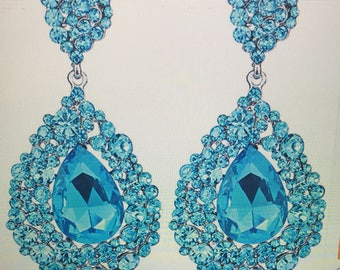 Large  Aqua Crystal Teardrop  Chandelier  Earrings  Pierced
