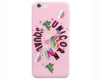 Unicorn Squad Cute Funny Pink Phone Case Cover for Apple iPhone 5 6 6s 7 8 X 10 Plus & Samsung Galaxy Customized Monogram