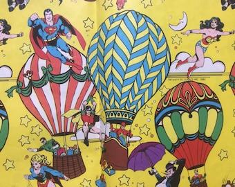"Vintage 1980 DC Comics Super Hero Wrapping Paper - 2 Sheets 30"" x 20"" and 15"" x 20"" - Superman Wonderwoman Green Lantern Robin Joker"