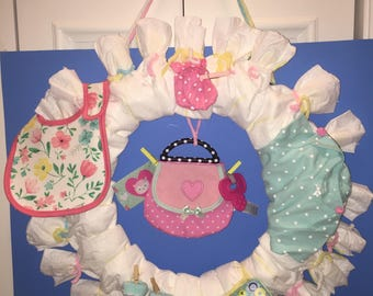 Diaper wreath for Baby Girl Shower