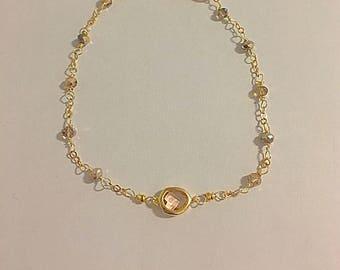 Peach and amber bracelet