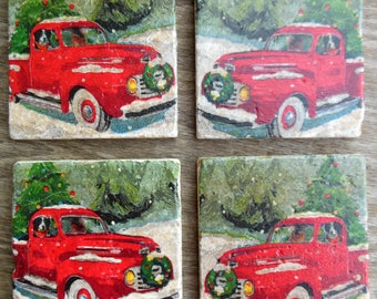 Coasters Christmas Vintage Red Truck Christmas Trees Stone Cup Holders Bar Drinks Winter Christmas Gifts White Red Green Protect Furniture