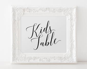 Kids Table Wedding Sign, Printable Wedding Kids Table Sign, Wedding Reception Kids Table Sign, Calligraphy Kids Table Wedding Sign