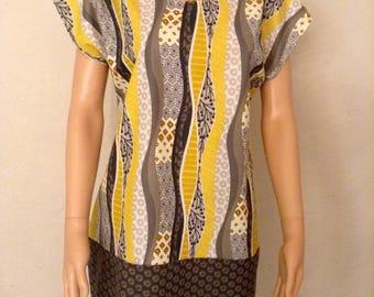 Summer dress cotton 36/38/40/42/44 printed matching mustard taupe grey...