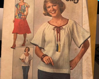 Vintage Simplicity pattern 7964 - misses' jiffy skirt and pullover top - size 10 - uncut