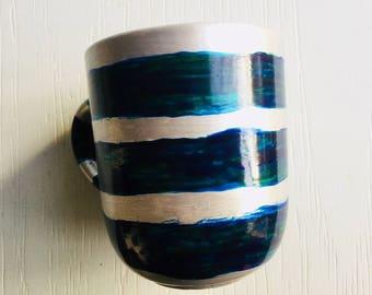 Silver striped teal petrol mug