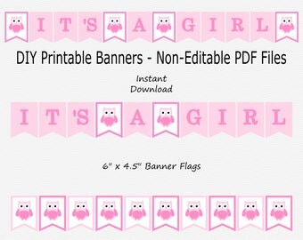 It's A Girl Banner - Medium Pink & Light Pink - Owl Baby Shower - Sign - PRINTABLE - INSTANT DOWNLOAD