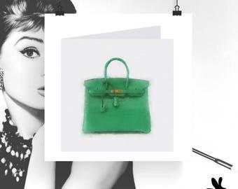 "Watercolour Cards - ""The Right To Choos"" Green Hermès Birkin"