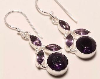"""Sterling Silver faceted  Moroccan African purple amethyst gemstone handmade earrings  1.75"""""""