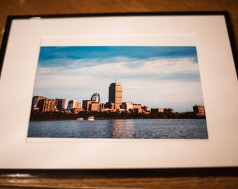 Framed Boston Charles River skyline color photo