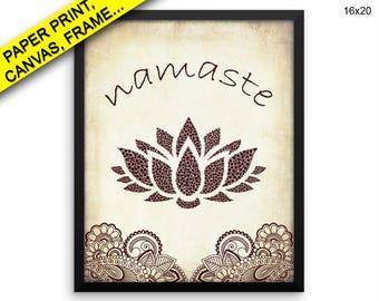 Namaste Canvas Art Namaste Printed Namaste Spiritual Art Namaste Spiritual Print Namaste Framed Art Namaste Mehndi Henna Brown Lotus Yoga