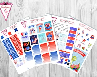 4th of July - Printable Erin Condren Weekly Kit w/Cut Line