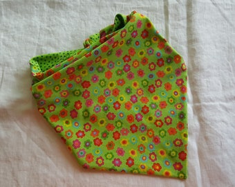 Traditional Tie End Dog Bandana - Reversible Lime Green with Multi-coloured Flowers/Lime Green with Navy Blue Triangles