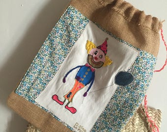 "Backpack bag jute and Liberty ""clown"""