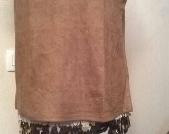 Blouse made of suede and Brown rhinestones