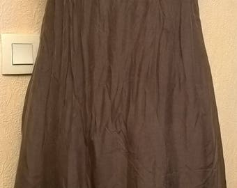 Dress in silk and viscose Brown suspenders