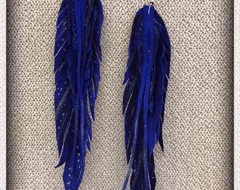 Leather Feather Earrings, Royal Blue, Feather Earrings, Long Earrings, Handmade Earrings