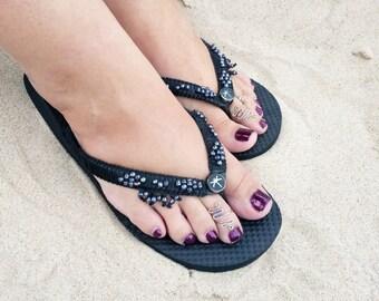 Dragonfly Flip Flops – Summer Shoes – Beach Sandals – Beaded Sandals – Black Flip Flops – Womens Flip Flops - Beaded Flip Flops