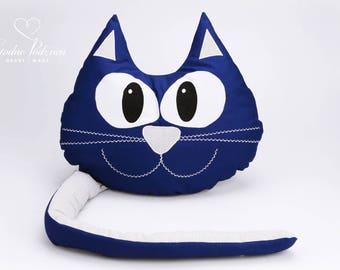Decorative Cat Pillow  navy blue