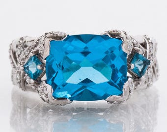 SALE Handmade Blue Topaz and Diamond Ring in 14k White Gold