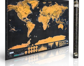 Scratch Off World Map Poster Deluxe Edition Vacation travel log