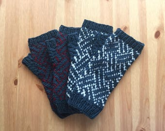 Basket pattern fingerless gloves