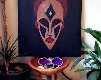 01Mask . African inspired textured mask painting