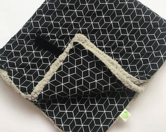Blanket, baby blanket, black and white monochrome, cube, gray teddy