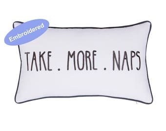 Pillow Covers Embroidered Take more Naps  Gifts for Wedding,,Christmas Gifts Modern Farmhouse Calligraphy Pillow Cover Rustic Home Decor,