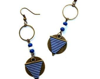 Sequin earrings geometric bronze striped blue white ♦ earrings bronze blue sequin